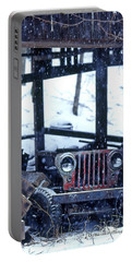 1g25 Old Willys Jeep In Old Barn Portable Battery Charger