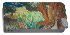 Portable Battery Charger featuring the painting Olive Trees by Teresa White
