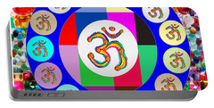 Om Mantra Dedication  Devotion Symbol Assembly By Artist N Reiki Healing Master Navinjoshi Portable Battery Charger