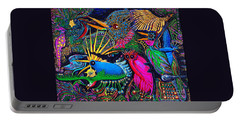 Portable Battery Charger featuring the painting Omen Birds by Peter Gumaer Ogden