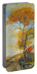Portable Battery Charger featuring the painting On Country Road  by Sorin Apostolescu