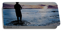 On The Beach Fishing At Sunset Portable Battery Charger