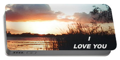 Lake Deer At Sunrise Portable Battery Charger