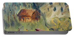 Portable Battery Charger featuring the painting On The Lake by Maria Langgle