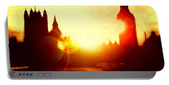 Portable Battery Charger featuring the digital art Big Ben On The Thames by Fine Art By Andrew David