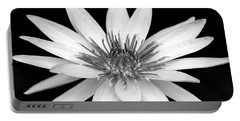 One Black And White Water Lily Portable Battery Charger