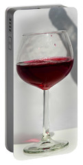 One Glass Of Red Wine With Bottle Shadow Art Prints Portable Battery Charger