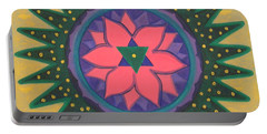 Portable Battery Charger featuring the painting One Gold Bindu by Mini Arora