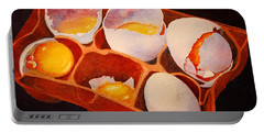 Portable Battery Charger featuring the painting One Good Egg by Roger Rockefeller