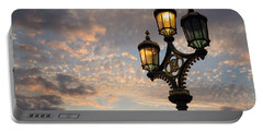 One Light Out - Westminster Bridge Streetlights - River Thames In London Uk Portable Battery Charger