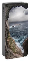 A Natural Window In Minorca North Coast Discover Us An Impressive View Of Sea And Sky - Open Window Portable Battery Charger by Pedro Cardona