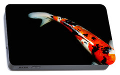 Orange And Black Koi Portable Battery Charger by Rebecca Cozart