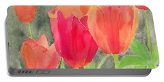 Orange And Red Tulips Portable Battery Charger