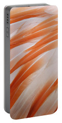 Orange And White Feathers Of A Flamingo Portable Battery Charger