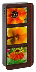 Orange Bloom Motif Portable Battery Charger