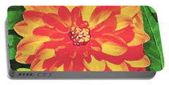 Orange Dahlia Portable Battery Charger