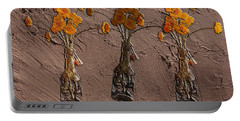 Orange Flowers Embedded In Adobe Portable Battery Charger