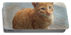 Orange Kitten 2 At The Front Porch Portable Battery Charger