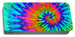 Orange Pink And Blue Tie Dye Spiral Portable Battery Charger by Catherine Sherman