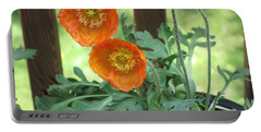 Portable Battery Charger featuring the photograph Orange Poppies by HEVi FineArt