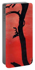 Portable Battery Charger featuring the drawing Orange Sunset Silhouette Tree by D Hackett