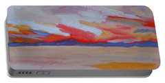 Portable Battery Charger featuring the painting Orange Sunset by Francine Frank