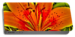 Orange Tiger Lily Portable Battery Charger