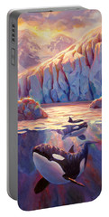 Orca Sunrise At The Glacier Portable Battery Charger by Karen Whitworth