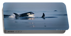 Portable Battery Charger featuring the photograph Orcas Off The San Juan Islands Washington  1986 by California Views Mr Pat Hathaway Archives
