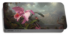 Orchid And Hummingbir Portable Battery Charger by Martin Johnson Heade