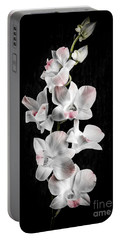Orchid Flowers On Black Portable Battery Charger