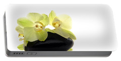 Orchid Flowers On Polished Stone Portable Battery Charger