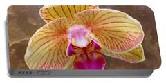 Orchid On Marble Portable Battery Charger by Barbie Corbett-Newmin