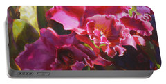 Orchids In Magenta Portable Battery Charger by Karen Whitworth