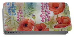 Portable Battery Charger featuring the painting Oriental Poppies Meadow by Carla Parris