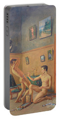 Original Classic Oil Painting Gay  Male Nude Man Body Art  On Canvas#16-2-6-16 Portable Battery Charger by Hongtao     Huang