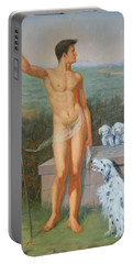 Original Classic Oil Painting Man Body Art-male Nude And Dogs #16-2-4-11 Portable Battery Charger by Hongtao     Huang