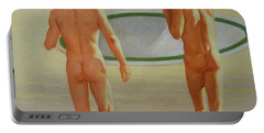 Original  Man Body Oil Painting  Gay Art -two Male Nude By The Sea#16-2-3-02 Portable Battery Charger by Hongtao     Huang