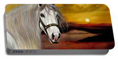 Original Oil Painting Animal Art-horse In Sunset #015 Portable Battery Charger by Hongtao     Huang