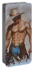 Original Oil Painting Gay Man Body Art-cowboy#16-2-5-19 Portable Battery Charger by Hongtao     Huang