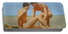 Original Oil Painting Man Body Art -male Nude By Hongtao#16-1-31-05 Portable Battery Charger by Hongtao     Huang