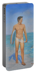 Original Oil Painting Man Body Art-male Nude On Seaside #16-2-1-03 Portable Battery Charger by Hongtao     Huang
