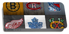 Original Six Hockey Team Retro Logo Vintage Recycled License Plate Art Portable Battery Charger by Design Turnpike
