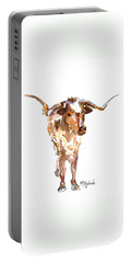 Original Longhorn Standing Earth Quack Watercolor Painting By Kmcelwaine Portable Battery Charger by Kathleen McElwaine