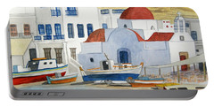 Portable Battery Charger featuring the painting Watercolor - Mykonos Greece Detail by Cascade Colors