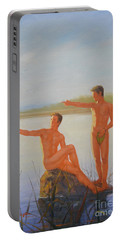 Original  Young Man Body Oil Painting  Gay Art - Male Nude Standing The Pool#16-2-2-04 Portable Battery Charger by Hongtao     Huang