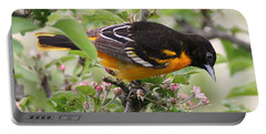 Oriole With Apple Blossoms Portable Battery Charger