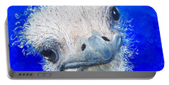 Ostrich Painting 'waldo' By Jan Matson Portable Battery Charger by Jan Matson