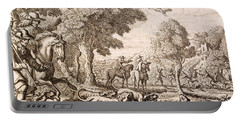 Otter Hunting By A River, Engraved Portable Battery Charger by Francis Barlow