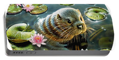 Otter In Water Lilies Portable Battery Charger